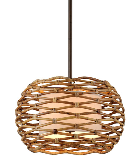 Troy Lighting F6747 Balboa 6 Light 28 inch Bronze and Natural Rattan Pendant Ceiling Light photo