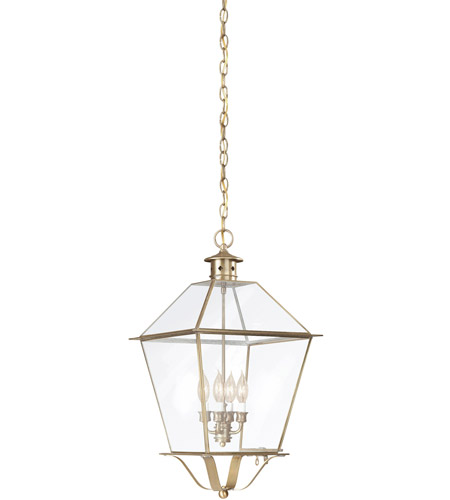 Troy Lighting Montgomery 4 Light Outdoor Hanging Lantern in Natural Aged Brass F8962NAB photo