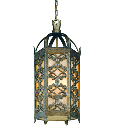 Troy Lighting Gables 4 Light Outdoor Hanging Lantern in Charred Gold F9908CG photo