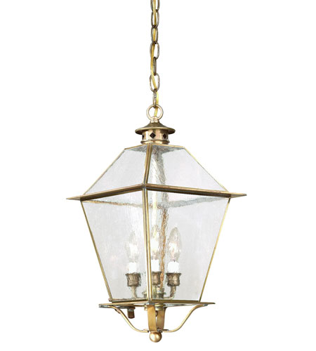 Troy Lighting FCD8956NAB Montgomery 3 Light 10 inch Natural Aged Brass Outdoor Hanging Lantern in Clear Seeded photo