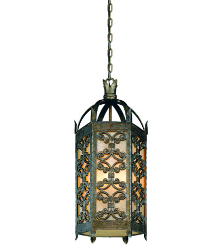 Troy Lighting Gables 1 Light Outdoor Hanging Lantern Fluorescent in Charred Gold FF9908CG photo