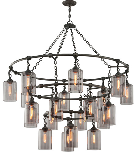 Troy Lighting F4426 Gotham 20 Light 52 inch Aged Silver Pendant Ceiling Light photo