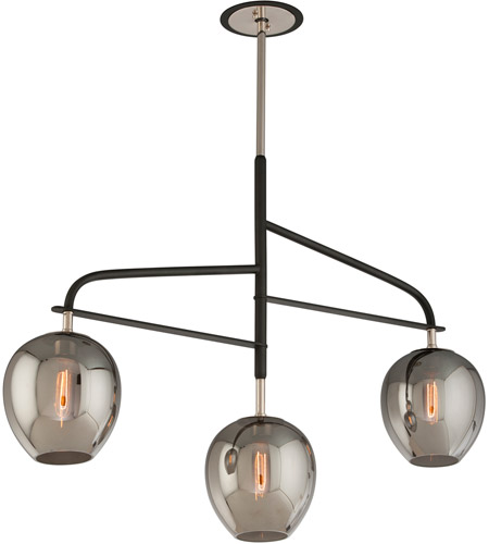 Troy Lighting F4299 Odyssey 3 Light 44 inch Carbide Black and Polished Nickel Island Pendant Ceiling Light photo