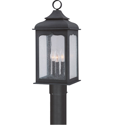 Troy Lighting P2015CI Henry Street 3 Light 22 inch Colonial Iron Post Lantern in Incandescent photo