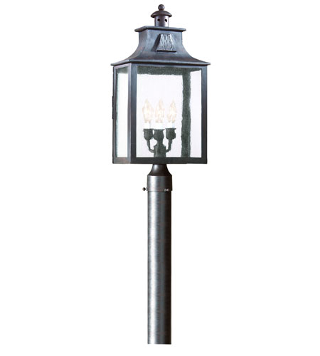 Troy Lighting P9006OBZ Newton 3 Light 23 inch Old Bronze Outdoor Post Lantern in Clear, Incandescent photo