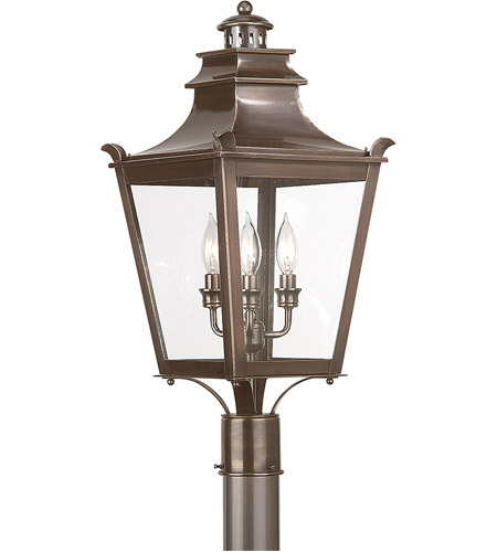 Troy Lighting Dorchester 3 Light Post Lantern in English Bronze P9496EB photo
