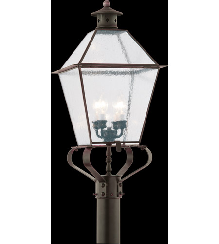 Troy Lighting PCD8961NR Montgomery 4 Light 32 inch Natural Rust Post Lantern in Clear Seeded photo