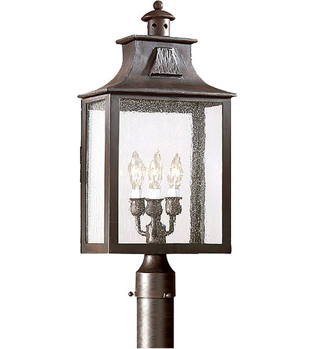 Troy Lighting PCD9006OBZ Newton 3 Light 23 inch Old Bronze Post Lantern in Clear Seeded, Incandescent photo