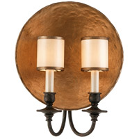 Troy Lighting Cymbals 2 Light Wall Sconce in Bronze Leaf With Umb B2922