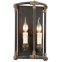 Troy Lighting Surrey 2 Light Wall Sconce in Distressed Black With Antique Gold Accents B3523