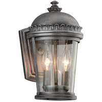 Ambassador 2 Light 12 inch Aged Pewter Outdoor Wall Lantern