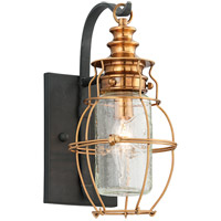 Troy Lighting Little Harbor 1 Light Outdoor Wall Lantern in Aged Brass With Forged Black Accents B3571