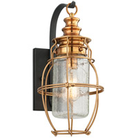 Troy Lighting Little Harbor 1 Light Outdoor Wall Lantern in Aged Brass With Forged Black Accents B3572