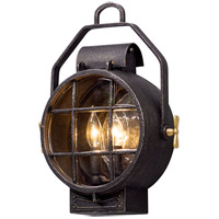 Point Lookout 2 Light 16 inch Aged Silver with Polished Brass Accents Outdoor Wall Light