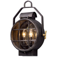 Point Lookout 2 Light 19 inch Aged Silver with Polished Brass Accents Outdoor Wall Light