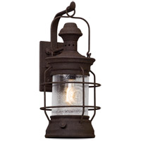 Troy Lighting Atkins - Outdoor Wall Lantern - 22 inch - Centennial Rust Finish - Clear Textured Glass B5053
