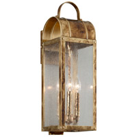 Bostonian 3 Light 22 inch Historic Brass Outdoor Wall Light