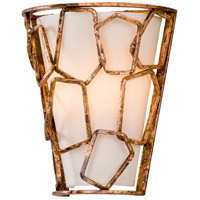 Coda 2 Light 10 inch Antique Copper Leaf Wall Sconce Wall Light