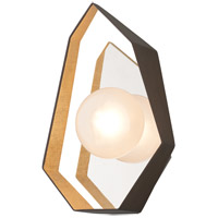 Origami LED 9 inch Bronze with Gold Leaf Wall Sconce Wall Light, Frosted Clear Glass