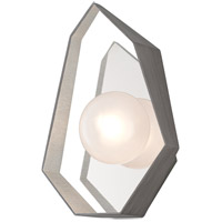 Origami LED 9 inch Graphite with Silver Leaf Wall Sconce Wall Light, Frosted Clear Glass