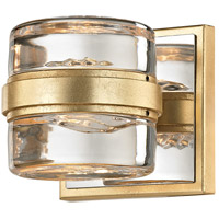 Splash LED 5 inch Gold Leaf and Polished Chrome Bath Vanity Wall Light, Clear Pressed Glass