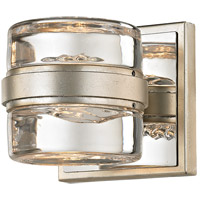 Splash LED 5 inch Silver Leaf and Polished Chrome Bath Vanity Wall Light, Clear Pressed Glass