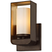 Escape LED 5 inch Bronze and Gold Leaf Bath Vanity Wall Light, Gloss Opal Glass