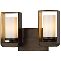 Troy Lighting B5702 Escape LED 12 inch Bronze and Gold Leaf Bath Vanity Wall Light, Gloss Opal Glass
