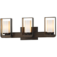 Escape LED 20 inch Bronze and Gold Leaf Bath Vanity Wall Light, Gloss Opal Glass