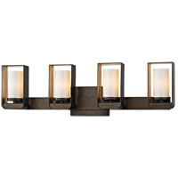 Escape LED 27 inch Bronze and Gold Leaf Bath Vanity Wall Light, Gloss Opal Glass