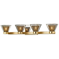 Troy Lighting B5824 Wink LED 28 inch Gold Leaf and Polished Chrome Bath Vanity Wall Light, Clear Glass