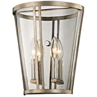 Troy Lighting B5842 Trapeze 2 Light 10 inch Champagne Silver Leaf Wall Sconce Wall Light, Clear Blown Glass