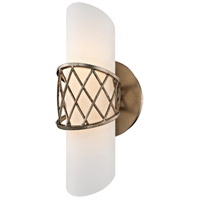 Hideaway LED 5 inch Champagne Leaf Wall Sconce Wall Light, Frosted White Glass
