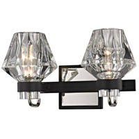 Faction 2 Light 14 inch Forged Iron and Polished Nickel Bath Vanity Wall Light, Clear Pressed Glass