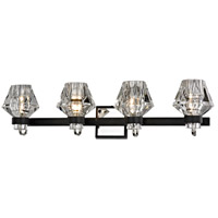 Faction 4 Light 31 inch Forged Iron and Polished Nickel Bath Vanity Wall Light, Clear Pressed Glass