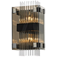 Apollo 2 Light 8 inch Dark Bronze and Polished Chrome Wall Sconce Wall Light, Smoked and Clear Glass