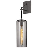 Troy Lighting B5911 Union Square 1 Light 5 inch Graphite Wall Sconce Wall Light, Smoke Glass