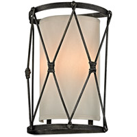 Troy Lighting B5942 Palisade 2 Light 10 inch Aged Pewter Wall Sconce Wall Light, Linen Hardback Shade
