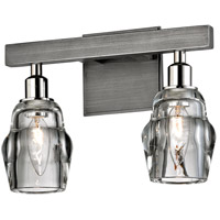 Troy Lighting B6002 Citizen 2 Light 12 inch Graphite and Polished Nickel Bath Vanity Wall Light, Clear Pressed Glass