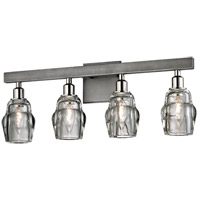 Citizen 4 Light 23 inch Graphite and Polished Nickel Bath Vanity Wall Light, Clear Pressed Glass