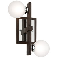 Troy Lighting B6072 Network 2 Light 10 inch Forest Bronze and Polished Chrome Wall Sconce Wall Light, Frosted Clear Glass