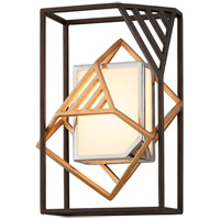 Cubist LED 10 inch Bronze and Gold Leaf and Polished Stainless Wall Sconce Wall Light, White Acrylic Shade