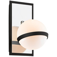 Troy Lighting B7161 Ace 5 inch Carb Black with Polished Nickel Accents Wall Sconce Wall Light