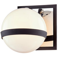 Troy Lighting B7481 Ace 1 Light 6 inch Carbide Black with Polished Nickel Accents Bath and Vanity Wall Light