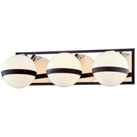 Troy Lighting B7483 Ace 3 Light 20 inch Carbide Black with Polished Nickel Accents Bath and Vanity Wall Light