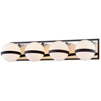 Troy Lighting B7484 Ace 4 Light 27 inch Carbide Black with Polished Nickel Accents Bath and Vanity Wall Light