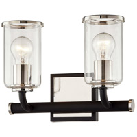 Troy Lighting B7682 Aeon 2 Light 12 inch Carbide Black and Polished Nickel Bath and Vanity Wall Light