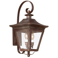 Oxford 2 Light 20 inch Natural Rust Outdoor Wall Lantern in Clear