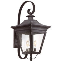Oxford 3 Light 28 inch Charred Iron Outdoor Wall Lantern in Clear