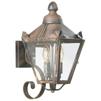 Preston 2 Light 16 inch Natural Rust Outdoor Wall Lantern in Clear
